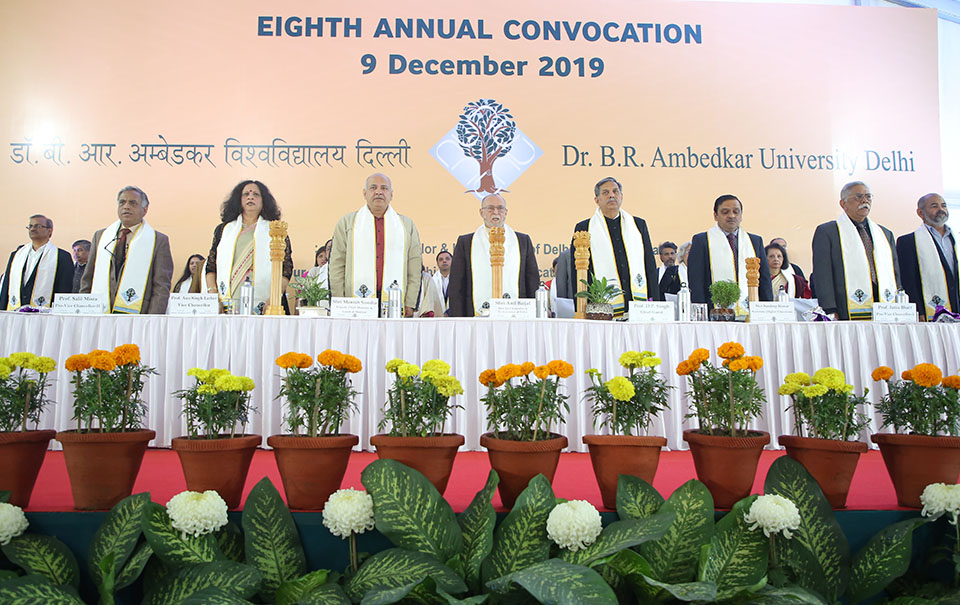 Dr. B.R. Ambedkar University Delhi had its 8th Annual Convocation at 10:30 AM on Monday, the 9th December, 2019 at its Kashmere Gate Campus