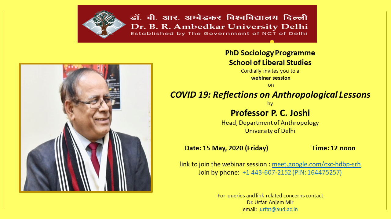 "Webinar session on ""COVID 19: Reflections on Anthropological Lessons"""