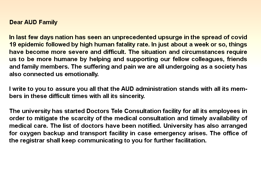 Message from <br>Prof. Anu Singh Lather, <br>Vice Chancellor, AUD