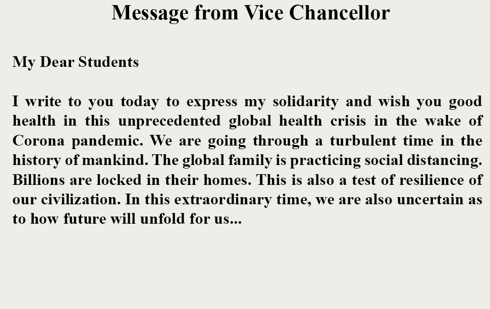 Message from Prof. Anu Singh Lather, Vice Chancellor
