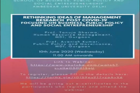 Webinar on Rethinking ideas of management research post covid-19