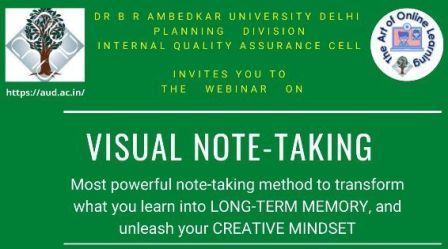 Online Workshop on Visual Note-Taking on 22 September 2020, Time = 11 am to 12:30 pm (IST)