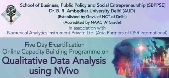 5 Day Online Capacity Building Programme Qualitative Data Analysis using Nvivo for research scholars and faculty members